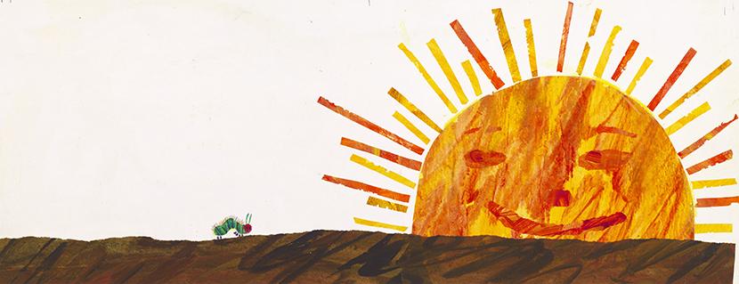 『はらぺこあおむし』別案原画、1984年、エリック・カール絵本美術館 ©1969 and 1987 Eric Carle