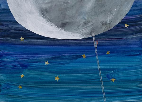 『パパ、お月さまとって!』最終原画、1985年、エリック・カール絵本美術館 ©1986 Eric Carle