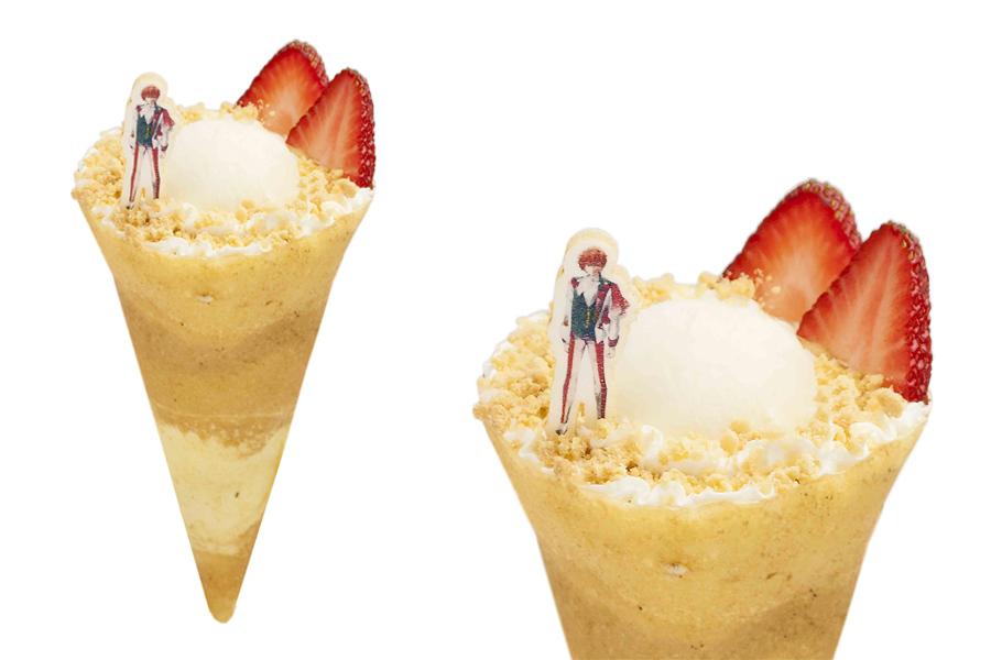 未来だけを見据えるアイドルたちの凛々しさを再現したというイメージクレープ750円。IDOLiSH7は「いちごプリン味」、TRIGGERは「ばななチョコ味」、Re:valeは「モモとリンゴ味」