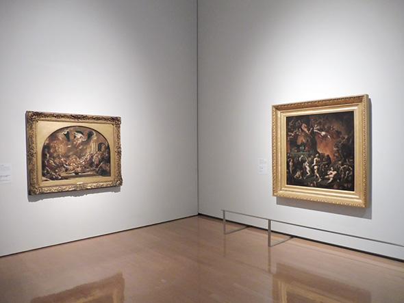 左:ウィリアム・エッテイ《ふしだらな酔っ払いの乱痴気騒ぎに割り込む破壊の天使と悪魔》 1822〜32年 油彩、カンヴァス マンチェスター美術館 右:ポール=マルク=ジョセフ・シュナヴァール《ダンテの地獄》 1846年 油彩、カンヴァス ファーブル美術館