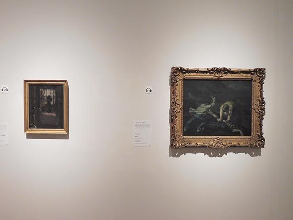左:ウォルター・リチャード・シッカートの《切り裂きジャックの寝室》1906〜07年 油彩、カンヴァス マンチェスター美術館 右:ポール・セザンヌ《殺人》1867年頃 油彩、カンヴァス ウォーカー・アート・ギャラリー、リバプール国立美術館