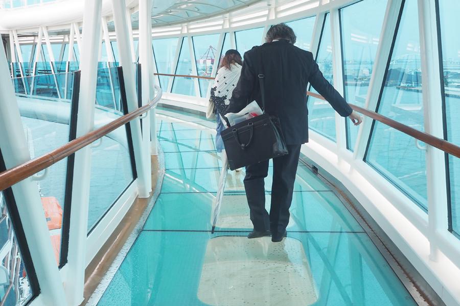 海面39メートルの高さで、船体から8.5メートル飛び出したガラス張りの通路「シーウォーク」