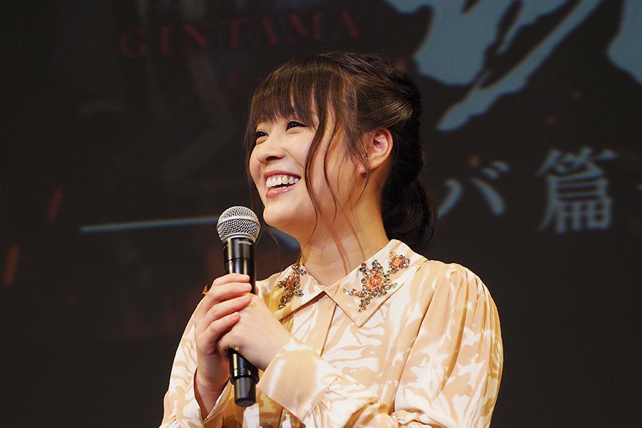 「沖田ミツバ役を〜」と話し始めると、そのミツバっぷりに観客からはどよめきが(13日、大阪市内)