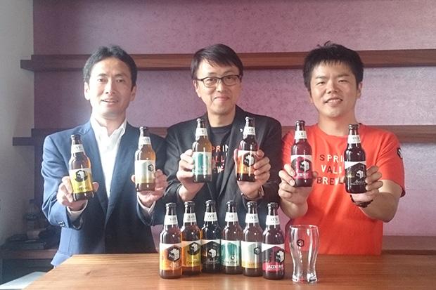 左から、キリンビール株式会社京滋支社長・阿久津勝己さん、SVB代表取締社長・和田徹さん、同社ヘッドブリュワー・三浦太浩さん