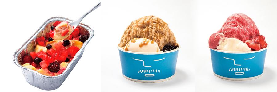 (左から)「アイボリッシュ」コンテナミニ1296円、「アイスモンスター」イチゴかき氷1110円、タピオカミルクティーかき氷990円(ほか