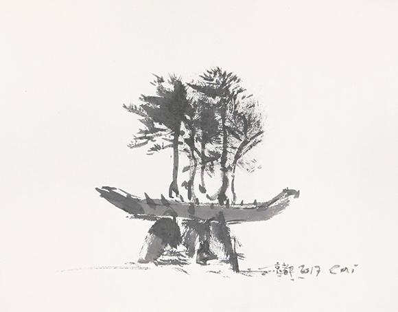 ツァイ・グオチャン(蔡國強)《盆栽の舟:東アジア文化都市2017京都のためのプロジェクト》スケッチ
