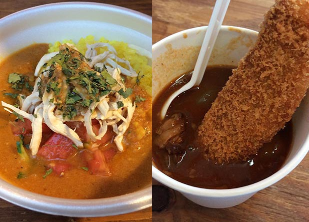 左から「cafe黒岩伽哩」の冷やし棒々鶏カレー、「極みとんかつ かつ喜」のフィレかつビーフシチュー各500円