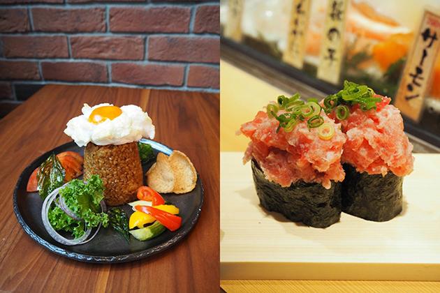 左から、「FIFTH SEASON」のバベルゴレン1296円は、バリ島名物のナシゴレンをアレンジ。「魚がし日本一」のねぎとろバベル軍艦324円は、通常よりもねぎとろが大盛りに