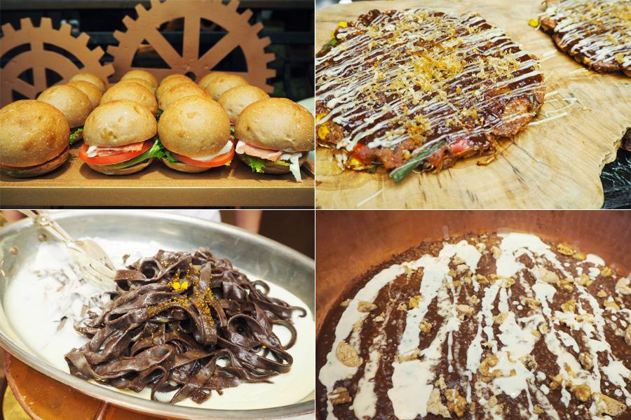 チョコとの意外なマリアージュが楽しめる4品。ハンバーガー、お好み焼き、パスタ、リゾットすべてにチョコが使用されている