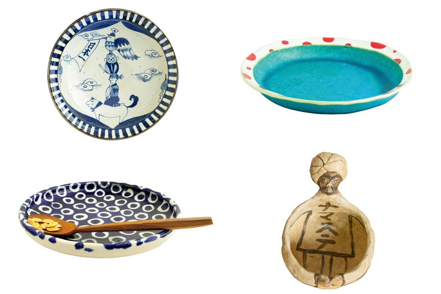 完食するとイラストが現れる皿、カレーが良く映える色鮮やかな皿、スプーンの当たりを考えた絶妙な角度の皿、インパクト抜群のサラダ鉢
