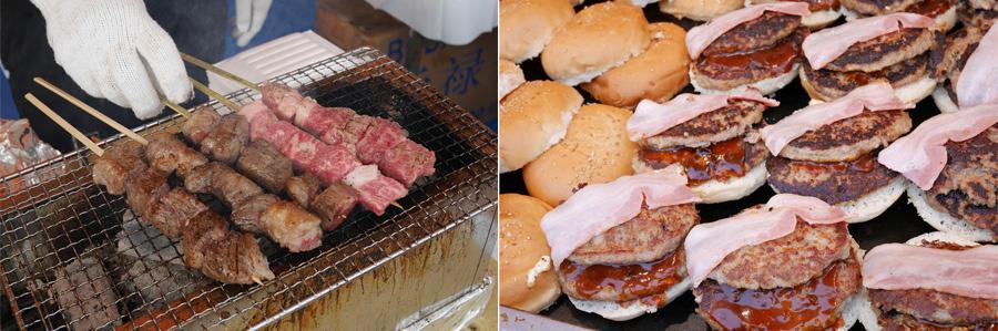 牛串やハンバーガーなど全国から22店舗の牛肉料理店が参加する『牛肉サミット2017』(滋賀)
