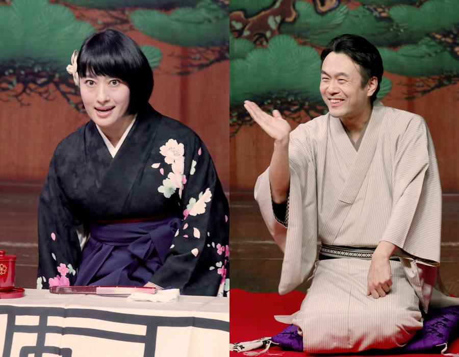 『初心者のための上方伝統芸能ナイト』に出演する浪曲師の春野恵子(左)、落語家の桂ちょうば
