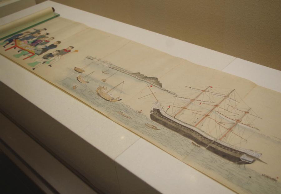 『天保山魯船図』嘉永7年(1854年)頃 神戸市立博物館 天保山とロシア軍艦ディアナ号が描かれている