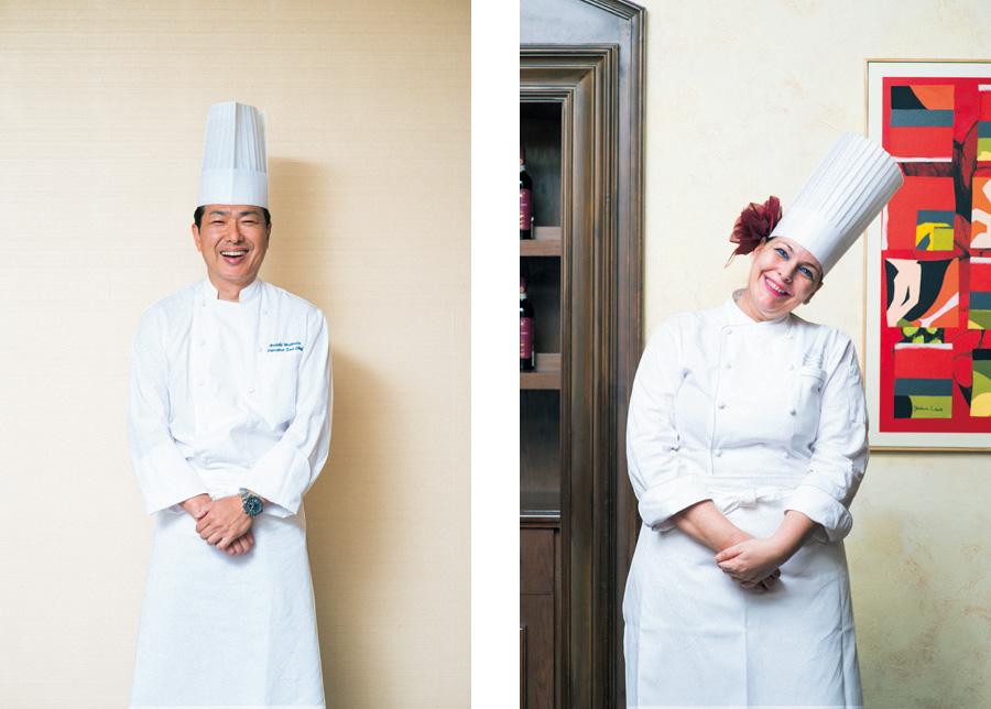 「私自身も、当日楽しみです」と松田シェフ(左)、「多彩な佐賀の酒を活かしたいデス」とオリアナシェフ