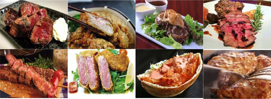 フライドステーキ、、中津からあげ、ロールステーキ、イベリコ豚のグリル、炙りステーキ串、牛サーロインカツレツ、ケバブサンド、近江牛パンバーグ、熟成厚切り牛タンのラインアップ