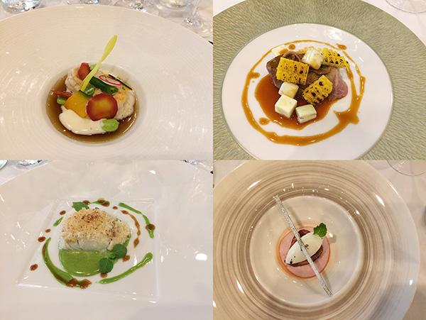 「プレスキル」でおこなわれた大阪プレス発表会で提供されたコースメニュー。魚料理には南高梅、泉州産の鴨には和歌山の実山椒を合わせるなど、日本の伝統的食材が使われている