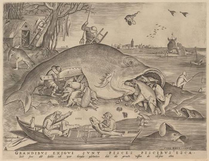 左上にいる足の生えた魚が、「タラ夫」の元になったモンスター。ピーテル・ブリューゲル 1 世、彫版:ピーテル・ファン・デル・ヘイデン「大きな魚は小さな魚を食う」 1557 年 エングレーヴィング Museum BVB, Rotterdam, the Netherlands