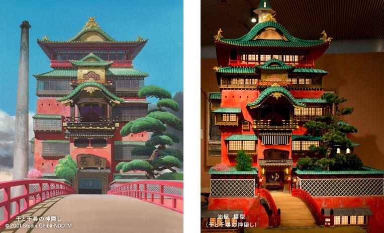 『千と千尋の神隠し』より、油屋の背景画と模型 © 2001 Studio Ghibli・NDDTM