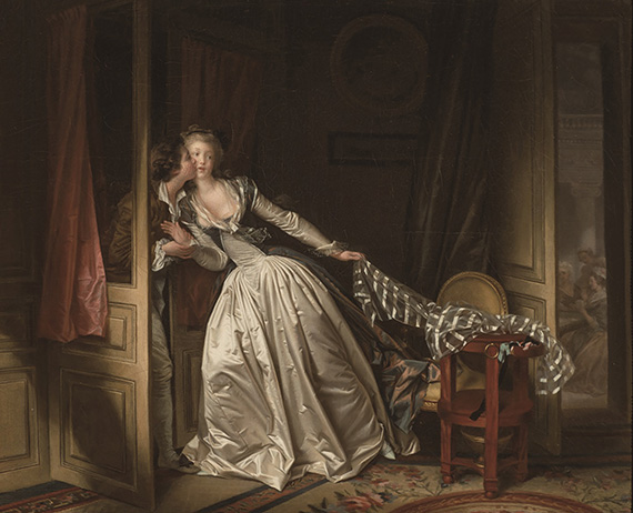 ジャン=オノレ・フラナゴールとマルグリット・ジェラール《盗まれた接吻》1780年代末 ©The State Hermitage. St Petersburg. 2017-18