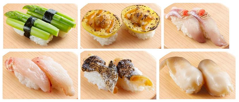 アスパラやじゃがいものウニのせ炙りなど、北海道ならではのネタがたくさん