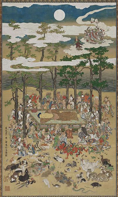 英一蝶《涅槃図》 正徳3年(1713年) 286.8cm×168.5cm 一幅、紙本着色 Fenollosa-Weld Collection, 11.4221