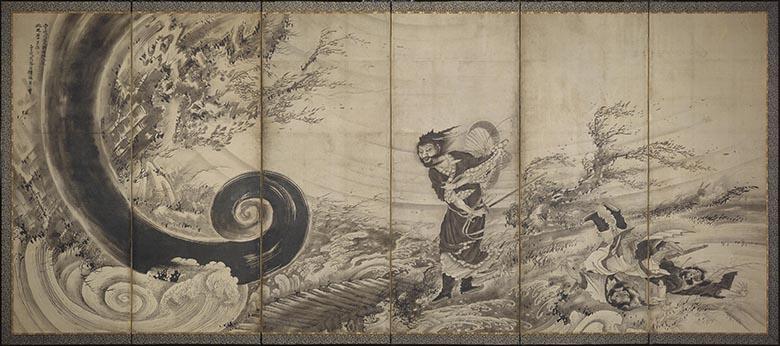 曾我蕭白《風仙図屏風》 宝暦14年/明和元年(1764年)頃 155.8cmx364 cm 六曲一隻、紙本墨画 Fenollosa-Weld Collection, 11.4510