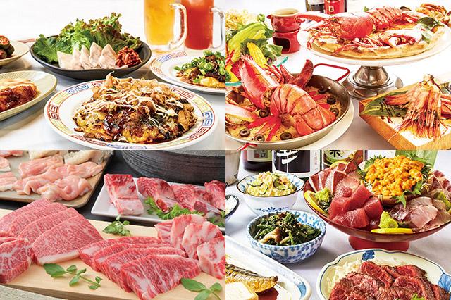 左上から、「バルチカ」に新しくオープンする「お好み たまちゃん」「海老talianバル」「やきにく 萬野」「大衆飲み処 徳田酒店」の料理一例