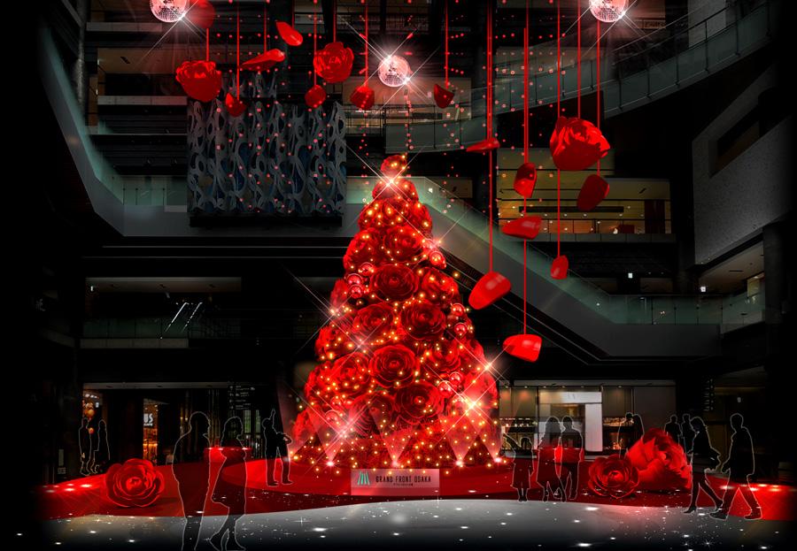 夕方17時からはライティングショーもおこなわれるクリスマスツリー『Red Rose Blossom』