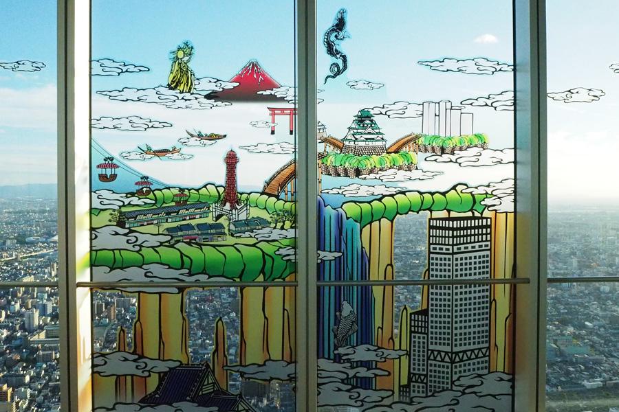 北斎が生きた江戸時代と、過去・現在の大阪を融合したという影絵「江戸と現世」