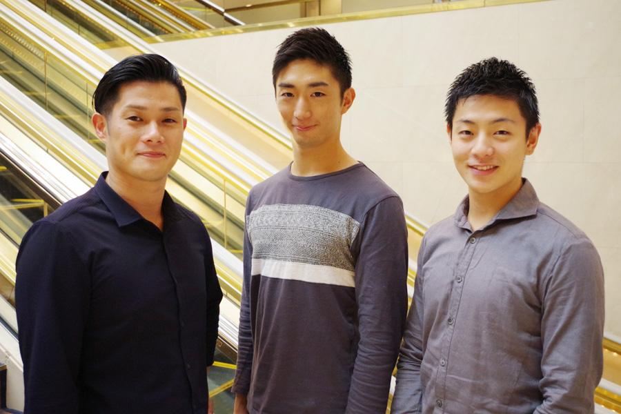 鼓童メンバー。左から坂本、大塚、北林
