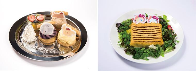 (左から)「ヴィクトルとポムポムプリン&マッカチン 銀盤の3色アイスサンドプレート」1490円、「ユーリとハローキティのなかよしおやすみオムライス」1690円(どちらも税抜)