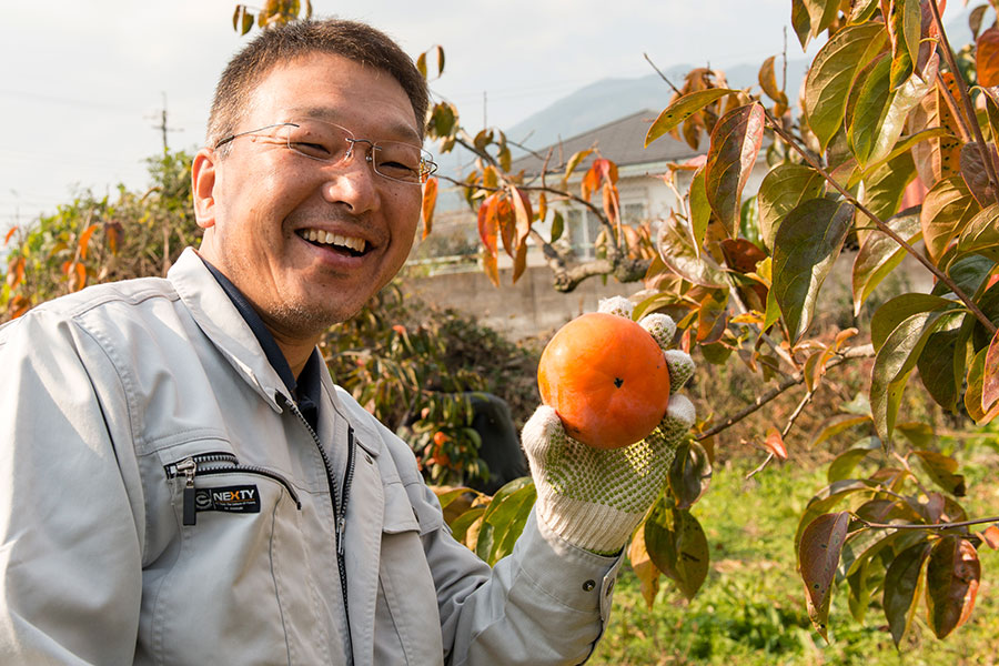 柿の大きさに思わず笑顔がほころぶ「柿の木オーナー」(5日・御所市)