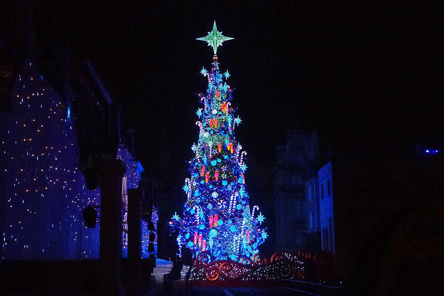 お披露目された新クリスマスツリー(9日、大阪市内)