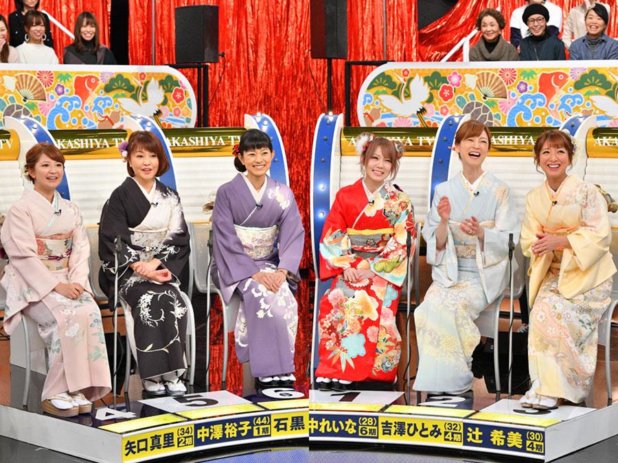 モーニング娘。OGは左から、矢口真里、中澤裕子、石黒彩、田中れいな、吉澤ひとみ、辻希美の6人が着物姿もあでやかに登場