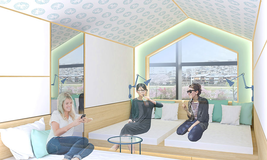 女性専用のホステル型宿泊施設では、スタイリッシュな共有スペースを目指す