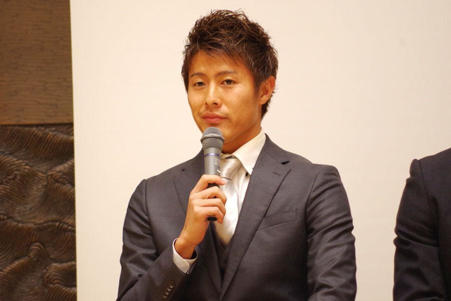 トークショーに登場した柿谷曜一朗選手(14日・大阪市役所)