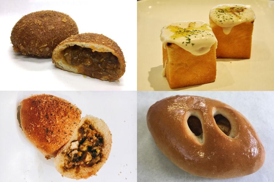 出展カレーパン例:チキンスパイスカレーパン、カレーグラタンパン、キーマカレーパン、焼きカレーパン