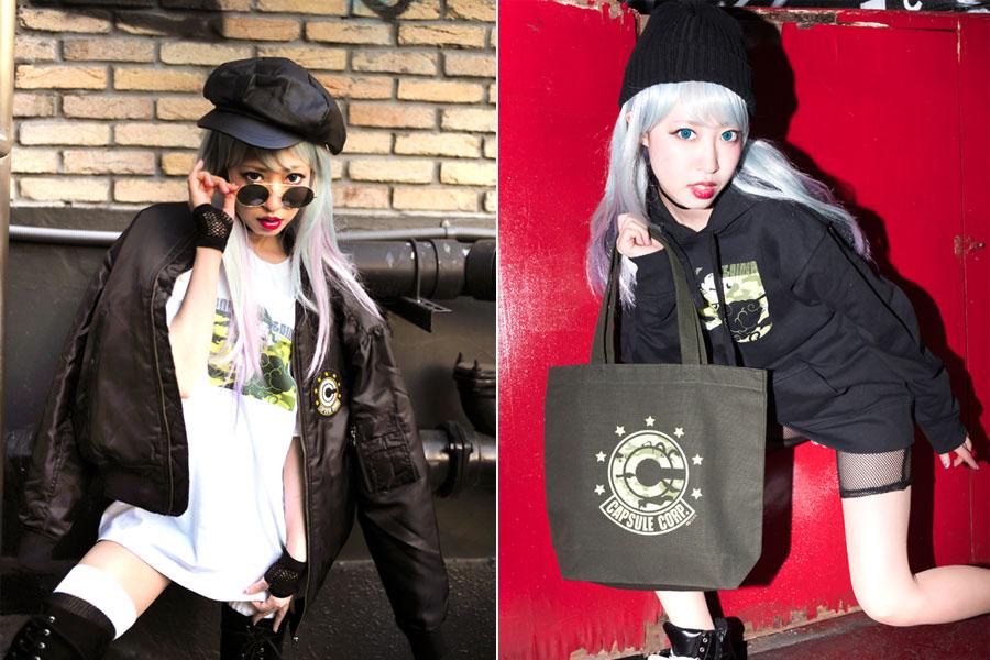 「限定MA-1 (黒/カーキ)」15800円+税、「神龍迷彩Tシャツ(悟空)(白/ブラック)」3000円