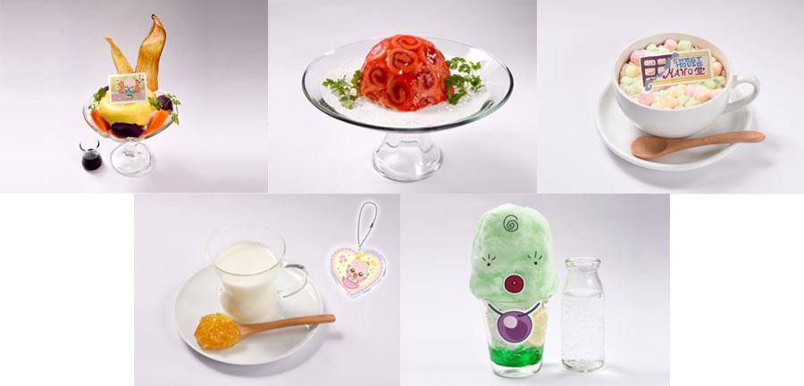 「ハナちゃん野菜食べられるようになってね」パフェ(1290円)、「マジョリカのマジカルわたあめソーダ(980円)など