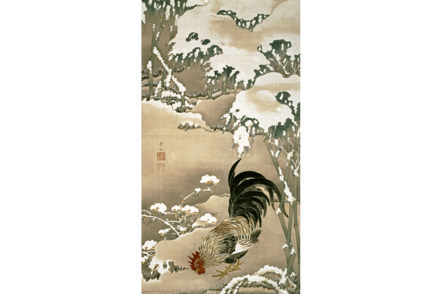 伊藤若冲《雪中雄鶏図》