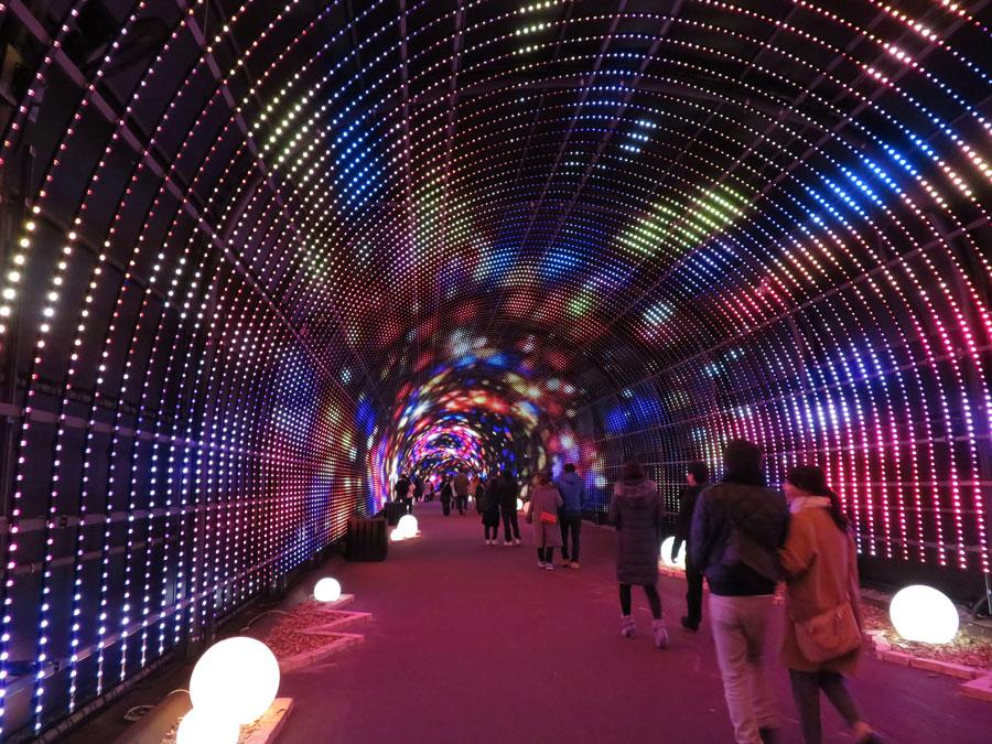 220メートル続くトンネルに100万個のLED電球を使用した「ワンダートンネル」