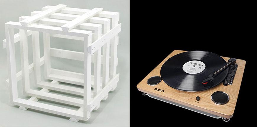 左から簡単に組み立てられるHORA AUDIOの収納ケース17,064円、ほかにもターンテーブルなども販売