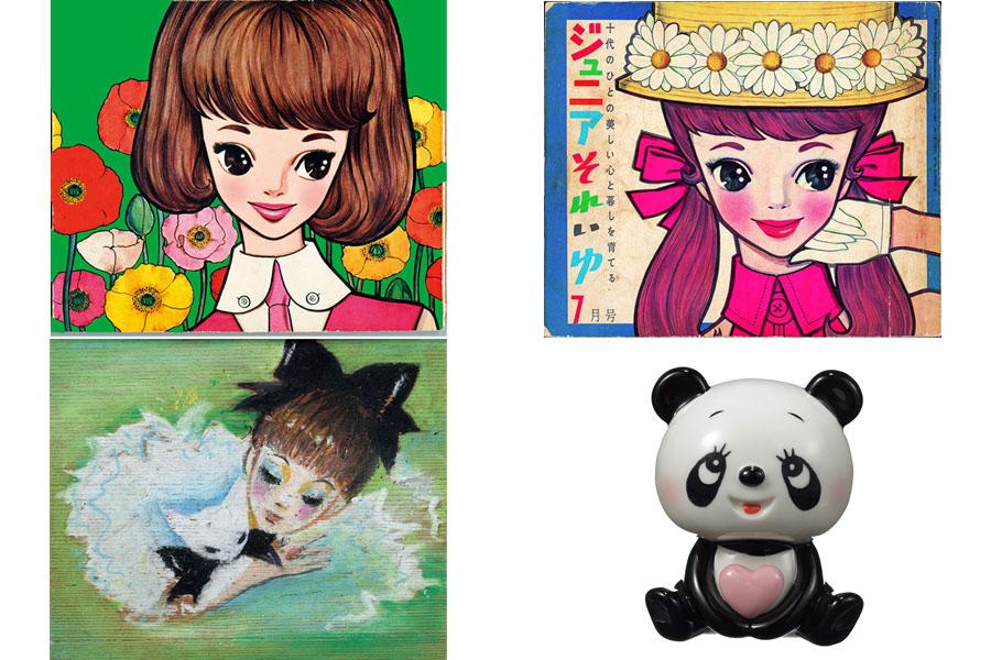 (左上から)『ジュニアそれいゆ』第33号表紙(1960年)復刻原画、第35号(1960年)、「眠り」「パンダ貯金箱」