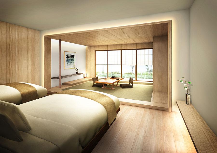 客室は禅の思想を感じるミニマルなデザインと高級感が融合する空間に。(「ガーデンスイート」イメージ)