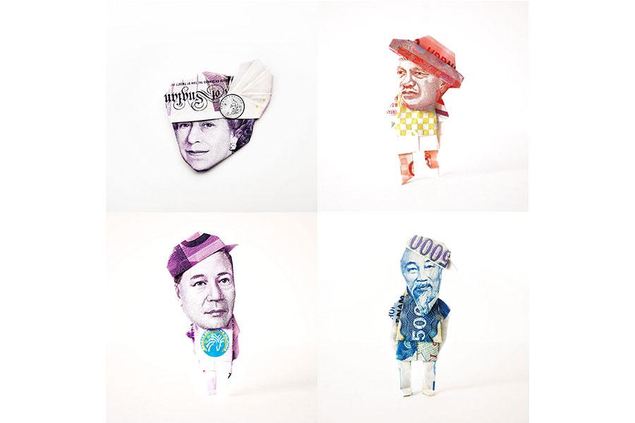 お札折り紙作家・ピロによる西日本初の企画展。お札のデザインや肖像に選ばれている人物などについての説明も