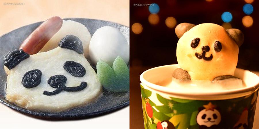 ほっこりパンダおでん(左)とほっこりパンダスープ(クラムチャウダー)