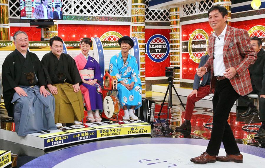 左から能楽師の山本章弘さん・麗晃さん親子、ちんどん屋の華ノ家ケイさん・福人さん親子