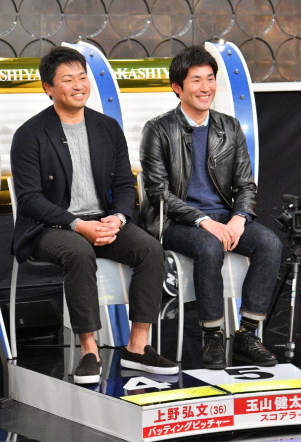 左から上野弘文バッティングピッチャー 、玉山健太スコアラー