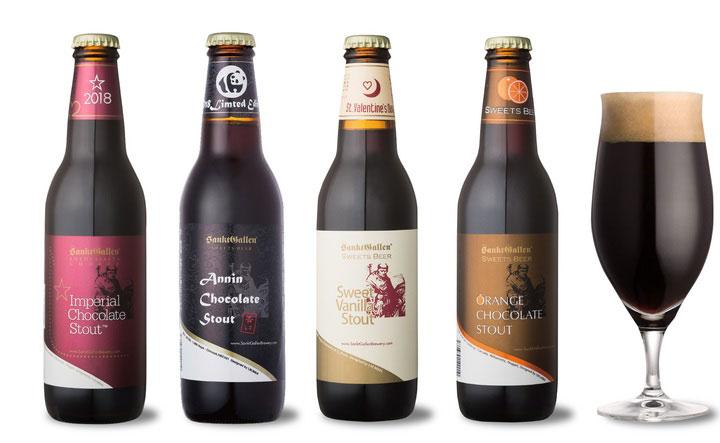 4種の味が登場する「サンクトガーレン」のチョコビール(各463〜648円)