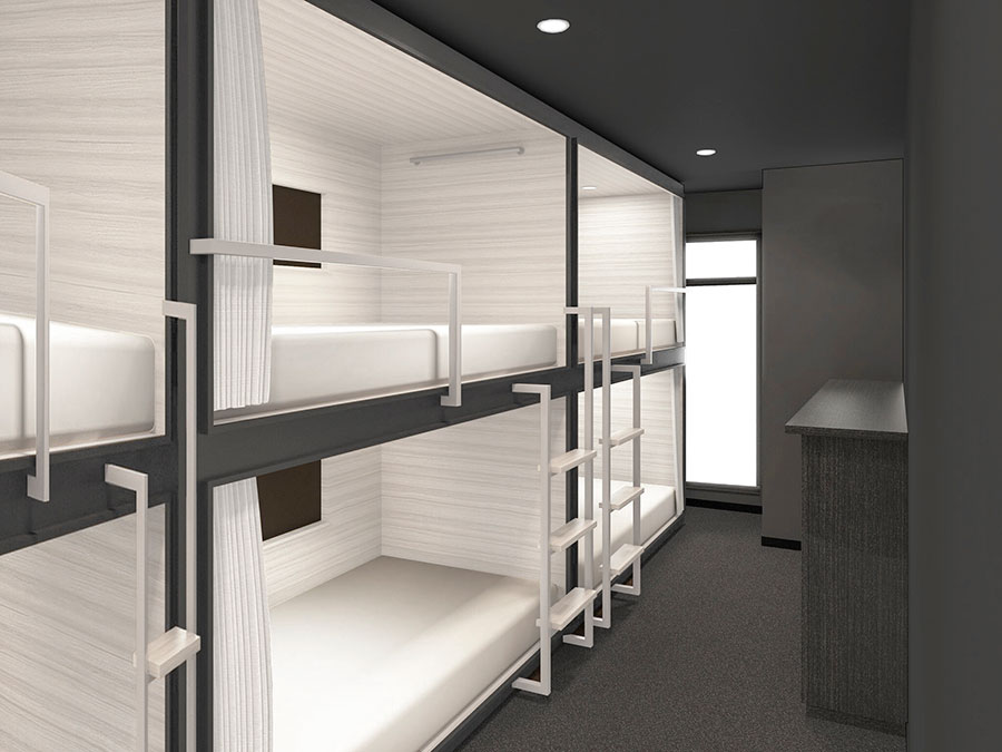 ドミトリーは6人部屋が12室、7人部屋が4室の予定(イメージ図)